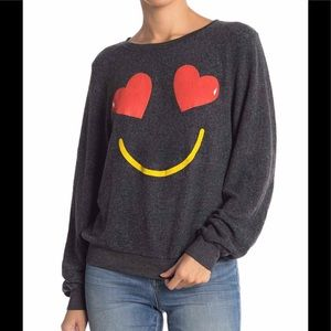 New Wildfox smiling hearts sweatshirt black